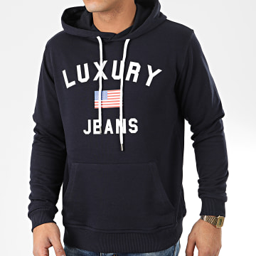 Sweat Capuche Luxury Jeans Bleu Marine