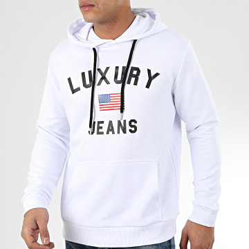 Sweat Capuche Luxury Jeans Blanc