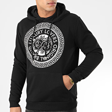 Sweat Capuche Méandres Noir Blanc