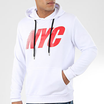 Sweat Capuche NYC Blanc Rouge