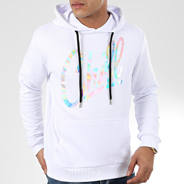 Sweat Capuche Chill Iridescent Blanc