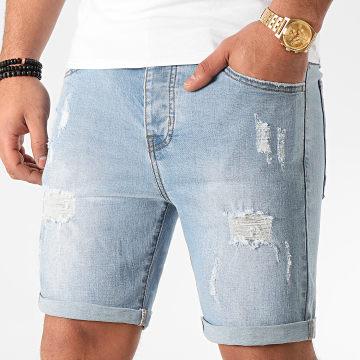 LBO - Short Jean Avec Dechirures LB054-B51 Bleu Clair