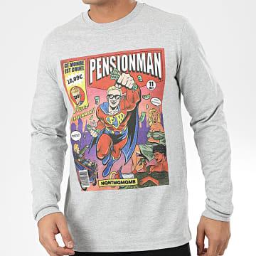 NQNT - Tee Shirt Manches Longues Pensionman Gris Chiné
