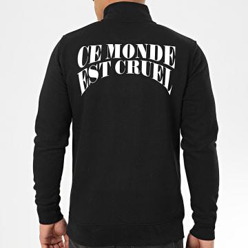 NQNT - Sweat Col Zippé Ce Monde Est Cruel Noir