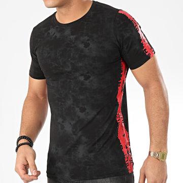 Tee Shirt A Bandes JAK-137 Noir Rouge