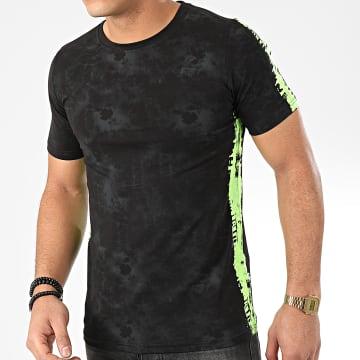 Tee Shirt A Bandes JAK-137 Noir Vert Fluo
