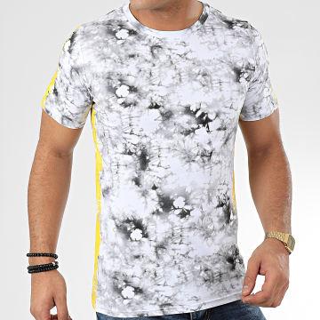 Tee Shirt A Bandes JAK-137 Blanc Jaune