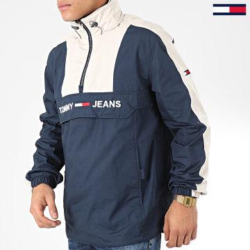 Tommy Jeans - Veste Outdoor A Bandes Colorblock Popover 7369 Bleu Marine Ecru