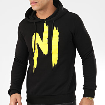 NI by Ninho - Sweat Capuche H001 Noir Jaune
