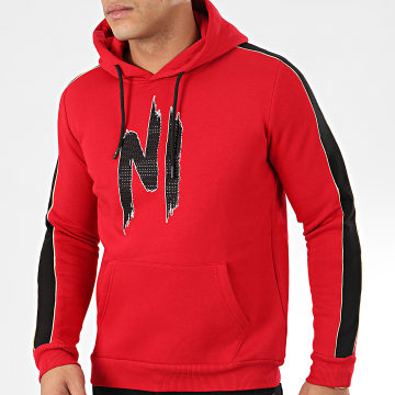 NI by Ninho - Sweat Capuche Strass A Bandes H001 Rouge Noir