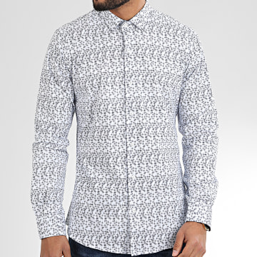 Paname Brothers - Chemise Manches Longues CH30 Blanc Bleu Marine