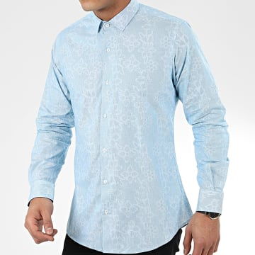 Paname Brothers - Chemise Manches Longues Floral CH88 Bleu Clair