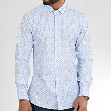 Paname Brothers - Chemise Manches Longues Floral CH53 Blanc Bleu Clair