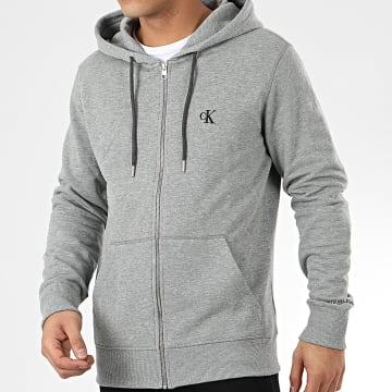 Calvin Klein - Sweat Zippé Capuche 4535 Gris Chiné