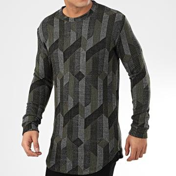 Frilivin - Tee Shirt Manches Longues Oversize 5372 Gris Noir Vert Kaki
