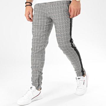 Pantalon A Carreaux Et Bandes 1675 Noir Blanc Beige