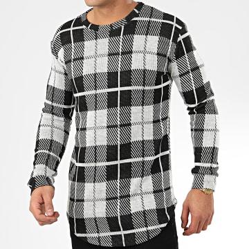 Frilivin - Tee Shirt Manches Longues A Carreaux Oversize 5374 Gris Noir