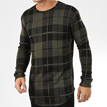 Frilivin - Tee Shirt Manches Longues A Carreaux Oversize 5374 Vert Kaki Noir