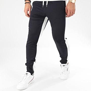 Pantalon A Bandes 1565 Bleu Marine Blanc