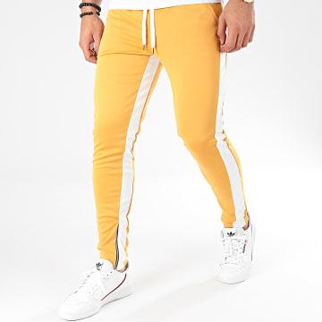 Pantalon A Bandes 1565 Moutarde Blanc