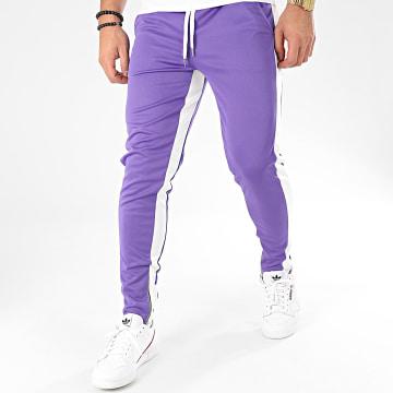 Pantalon A Bandes 1565 Violet Blanc