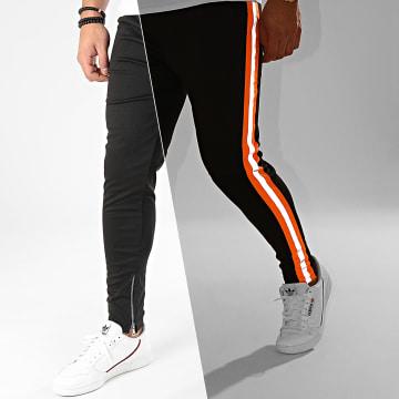 Pantalon A Bandes Réfléchissantes 1673 Noir Orange Fluo Gris