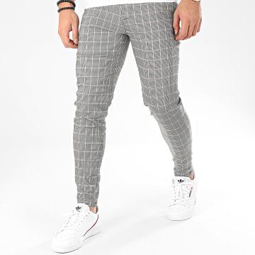 Pantalon A Carreaux 1678 Noir Blanc Beige