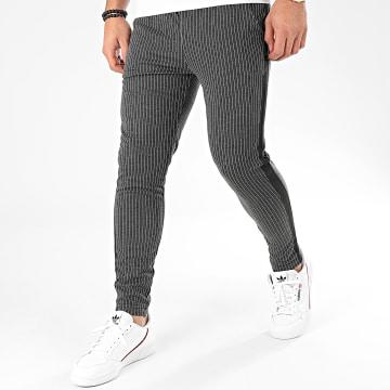 Pantalon A Rayures Avec Bandes 1670 Gris Anthracite Chiné