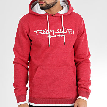 Teddy Smith - Sweat Capuche Siclass Rouge Chiné