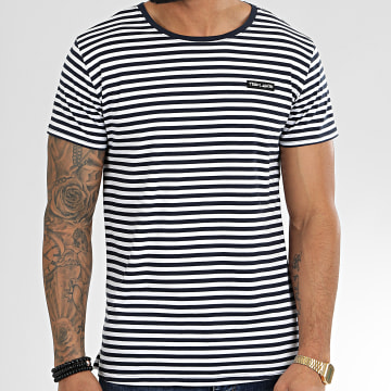 Teddy Smith - Tee Shirt A Rayures Arnaud Bleu Marine Blanc