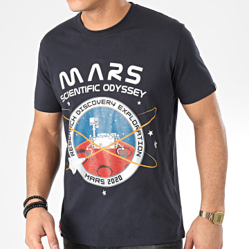 Alpha Industries - Tee Shirt Mission To Mars 126531 Bleu Marine Argenté