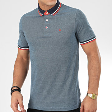 Jack And Jones - Polo Manches Courtes Paulos Bleu Marine Chiné
