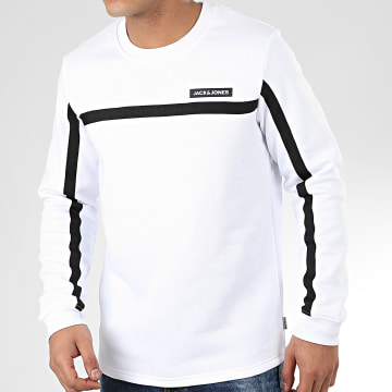 Sweat Crewneck A Bandes Super Cell Blanc