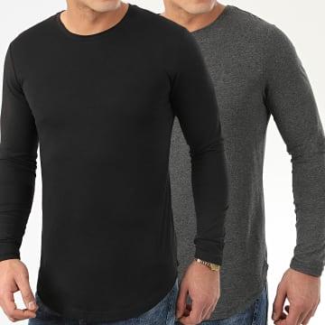LBO - Lot De 2 Tee Shirts Oversize Manches Longues Unis 96 Gris Anthracite Et Noir