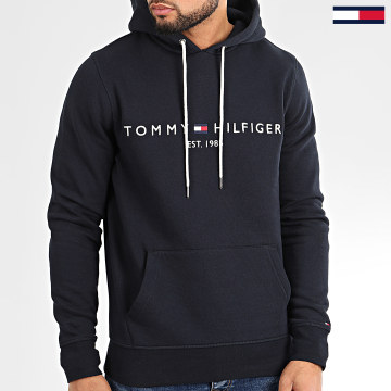 Sweat Capuche Core Tommy Logo 0752 Bleu Marine