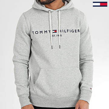 Sweat Capuche Core Tommy Logo 0752 Bleu Gris Chiné