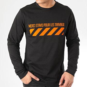 13 Block - Tee Shirt Manches Longues Travaux Noir Orange