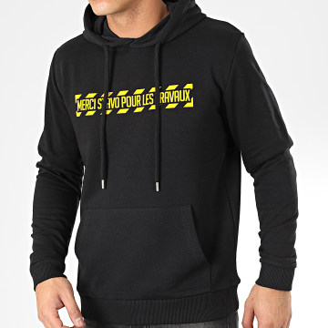 13 Block - Sweat Capuche Travaux Noir Jaune