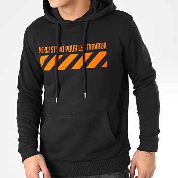 13 Block - Sweat Capuche Travaux Noir Orange
