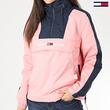 Tommy Jeans - Veste Capuche Col Zippé Femme A Bandes Linear Logo Popover Rose Bleu Marine