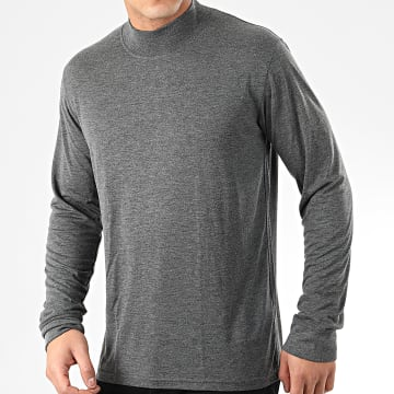 Celio - Tee Shirt Manches Longues Hot Gris Anthracite Chiné