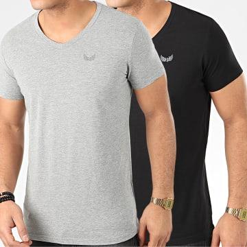 Kaporal - Lot De 2 Tee Shirts Col V Gift Noir Gris Chiné
