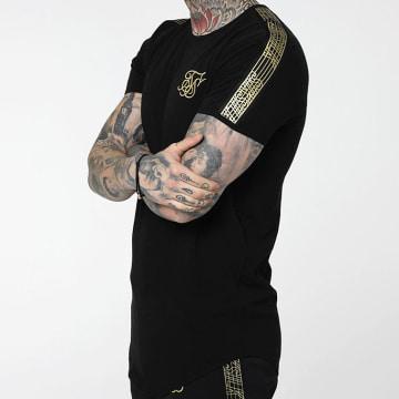 Tee Shirt Oversize A Bandes Gold Edit 14932 Noir Doré