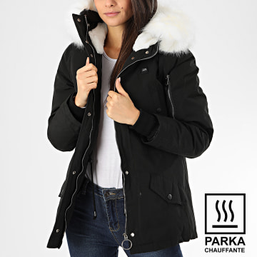 Sixth June - Parka Chauffante Fourrure Femme W3501SOW Noir Blanc