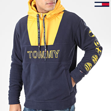 Sweat Col Zippé Capuche Tommy Logo 7397 Bleu Marine