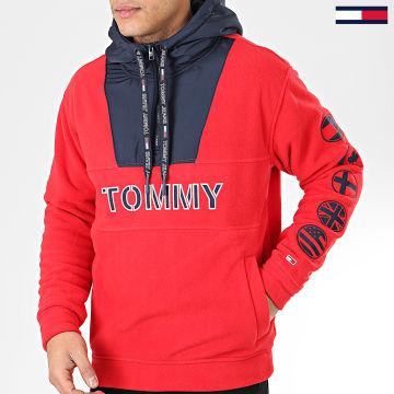 Sweat Col Zippé Capuche Tommy Logo 7397 Rouge