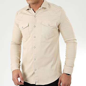 Uniplay - Chemise Jean Manches Longues 181 Beige