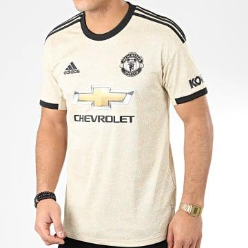 Adidas Performance - Maillot De Foot Manchester United A Bandes ED7388 Beige Noir