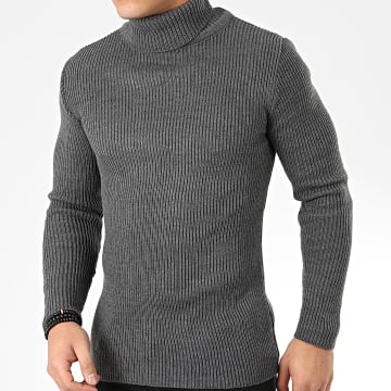 Pull Col Roulé 7781 Gris Anthracite Chiné