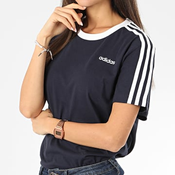 adidas - Tee Shirt Femme A Bandes Essential Boyfriend FN5778 Bleu Marine Blanc
